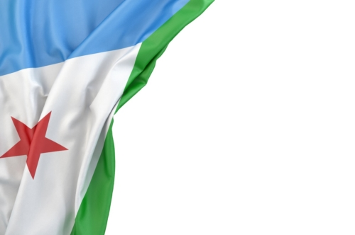 Flag of Djibouti in the corner on white background. Isolated, contains clipping path - slon.pics - free stock photos and illustrations