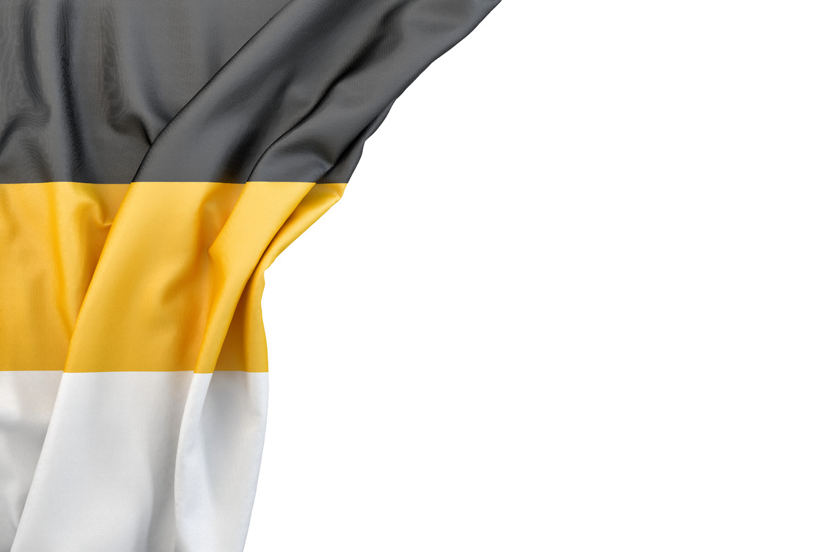 Flag of Russian Empire in the corner on white background. Isolated, contains clipping path - slon.pics - free stock photos and illustrations