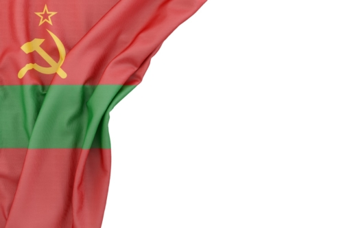 Flag of Transnistria in the corner on white background. Isolated, contains clipping path - slon.pics - free stock photos and illustrations