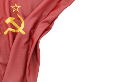 Flag of USSR in the corner on white background. Isolated, contains clipping path - slon.pics - free stock photos and illustrations