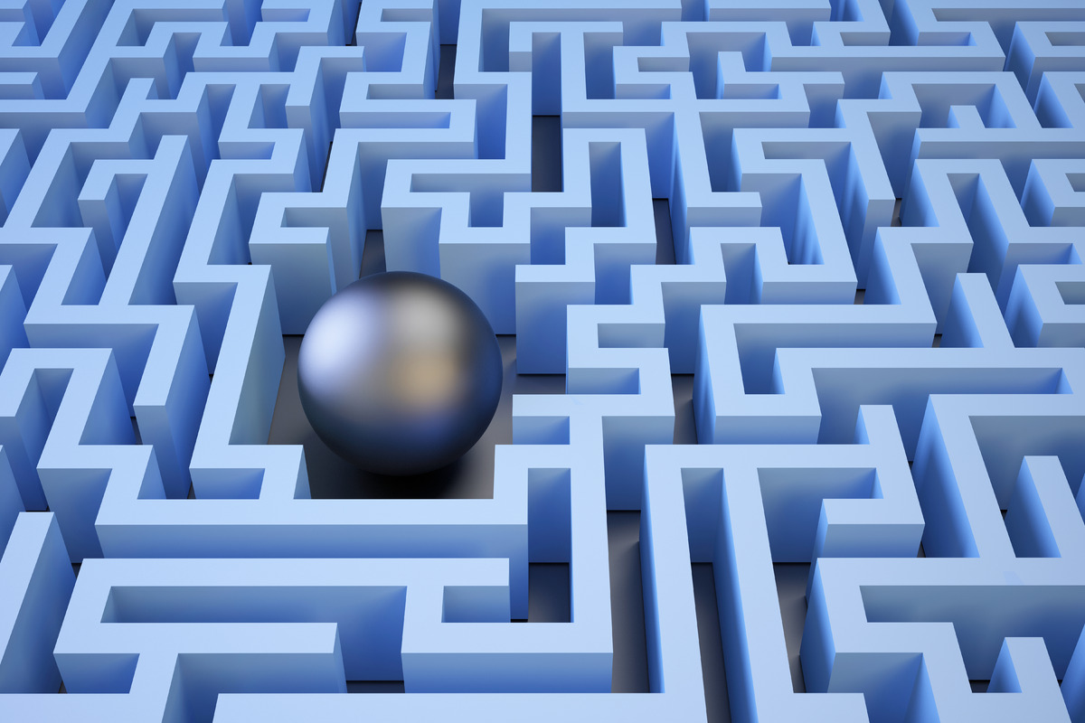 3d Sphere in the center of the maze. 3D illustration - slon.pics - free stock photos and illustrations