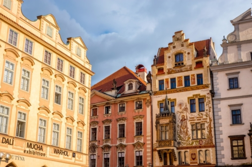 A decorated buildings facade on the southern side of Old Town Square (Staromestske Namesti). Prague, Czech Republic - slon.pics - free stock photos and illustrations