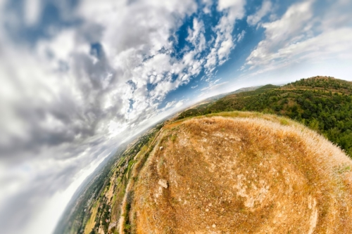An earhtly rocky mountain landscape with an extreme wide angle wrapping - slon.pics - free stock photos and illustrations