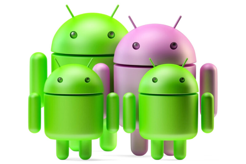 Android family. 3D illustration. Isolated. Contains clipping path - slon.pics - free stock photos and illustrations