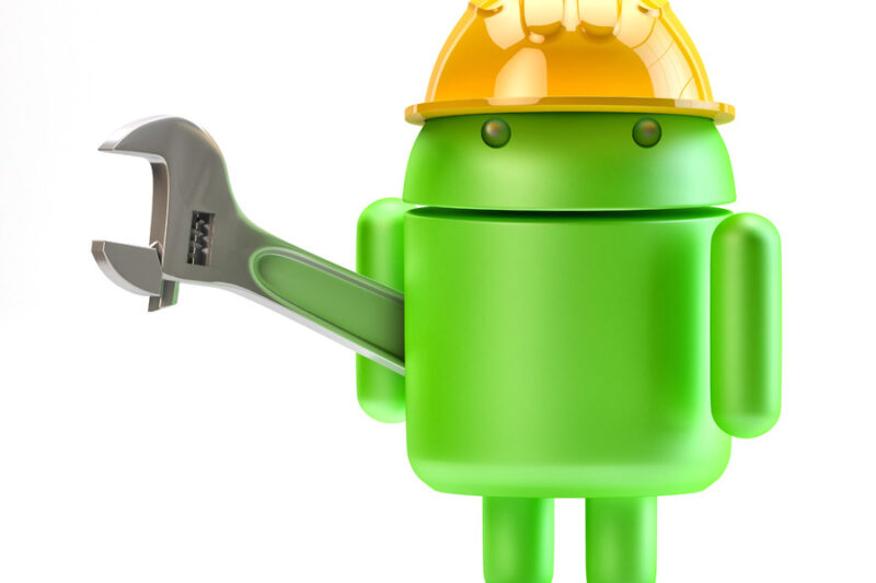 Android with adjustable wrench. 3D illustration. Isolated - slon.pics - free stock photos and illustrations