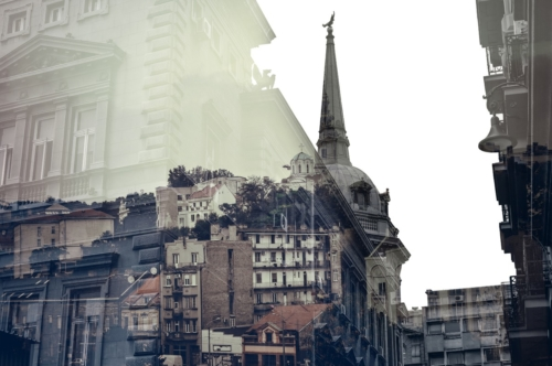 Belgrade, Serbia. Double Exposure effect. Color tone tuned - slon.pics - free stock photos and illustrations