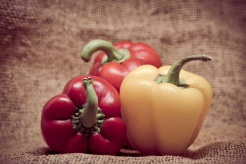 Bell peppers over vintage background - slon.pics - free stock photos and illustrations