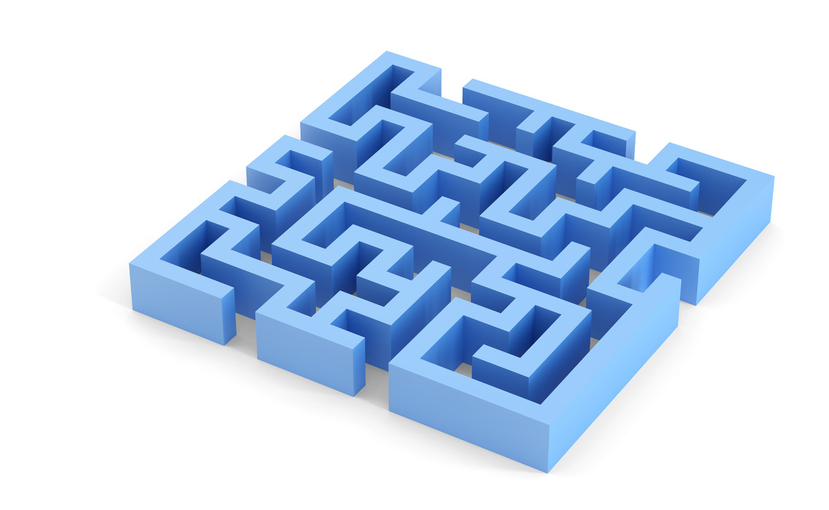 Blue squared maze. 3D illustration. Isolated. Contains clipping path - slon.pics - free stock photos and illustrations