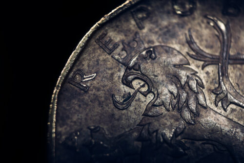 Bohemian heraldic lion on Czech Koruna coin - slon.pics - free stock photos and illustrations