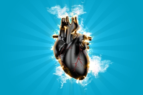 Burning heart. 3D illustration - slon.pics - free stock photos and illustrations