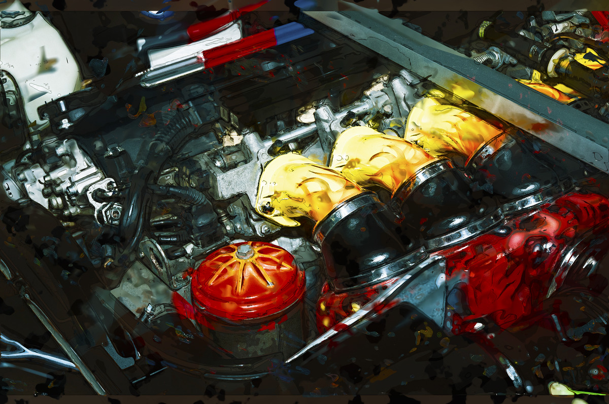 Car engine. Digital Illustration - slon.pics - free stock photos and illustrations