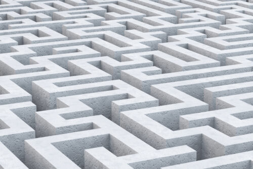 Concrete maze. 3D illustration - slon.pics - free stock photos and illustrations