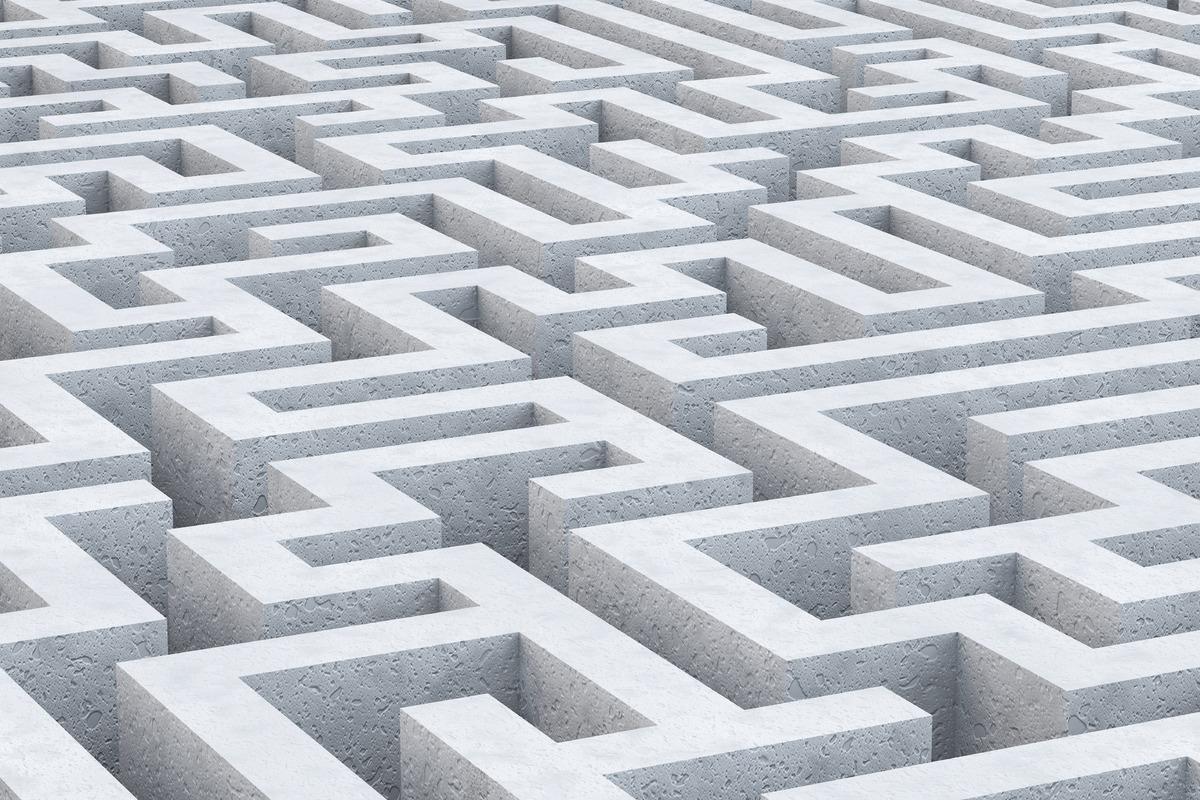 Concrete maze. 3D illustration - slon.pics - free stock photos and illustrations