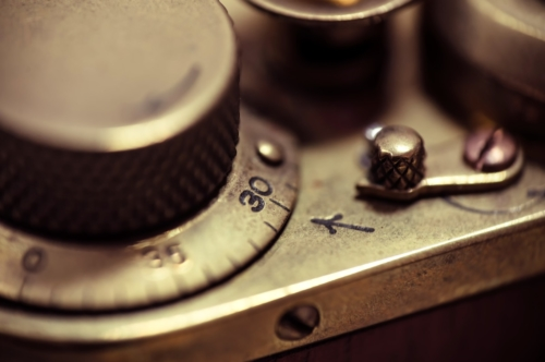 Detail of an old vintage film camera. Macro photo - slon.pics - free stock photos and illustrations