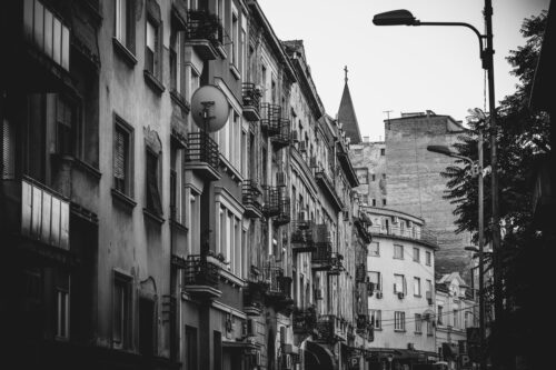 Dorde Jovanovic street. Black and white. Belgrade, Serbia. - slon.pics - free stock photos and illustrations