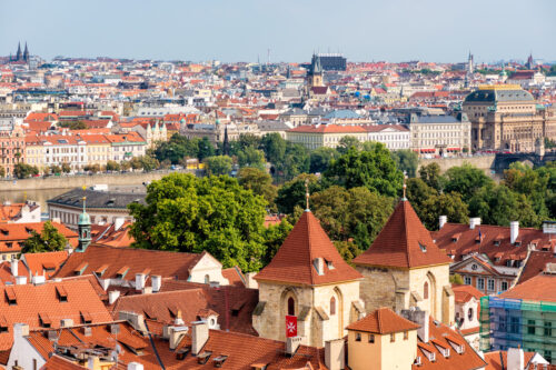 Elevated view of the Church of Our Lady beneath the Chain (Kostel Panny Marie pod retezem). Prague, Czech Republic - slon.pics - free stock photos and illustrations