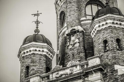 Facade of Gardos Tower or Millennium Tower. Belgrade, Republic of Serbia - slon.pics - free stock photos and illustrations