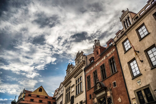Facades of Baroque building at the Old Town Square in Prague - slon.pics - free stock photos and illustrations