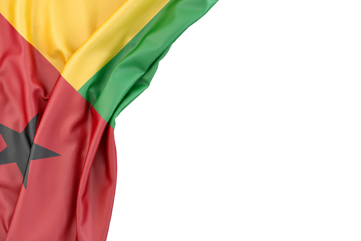 Flag Of Guinea-Bissau in the corner on white background. Isolated, contains clipping path - slon.pics - free stock photos and illustrations