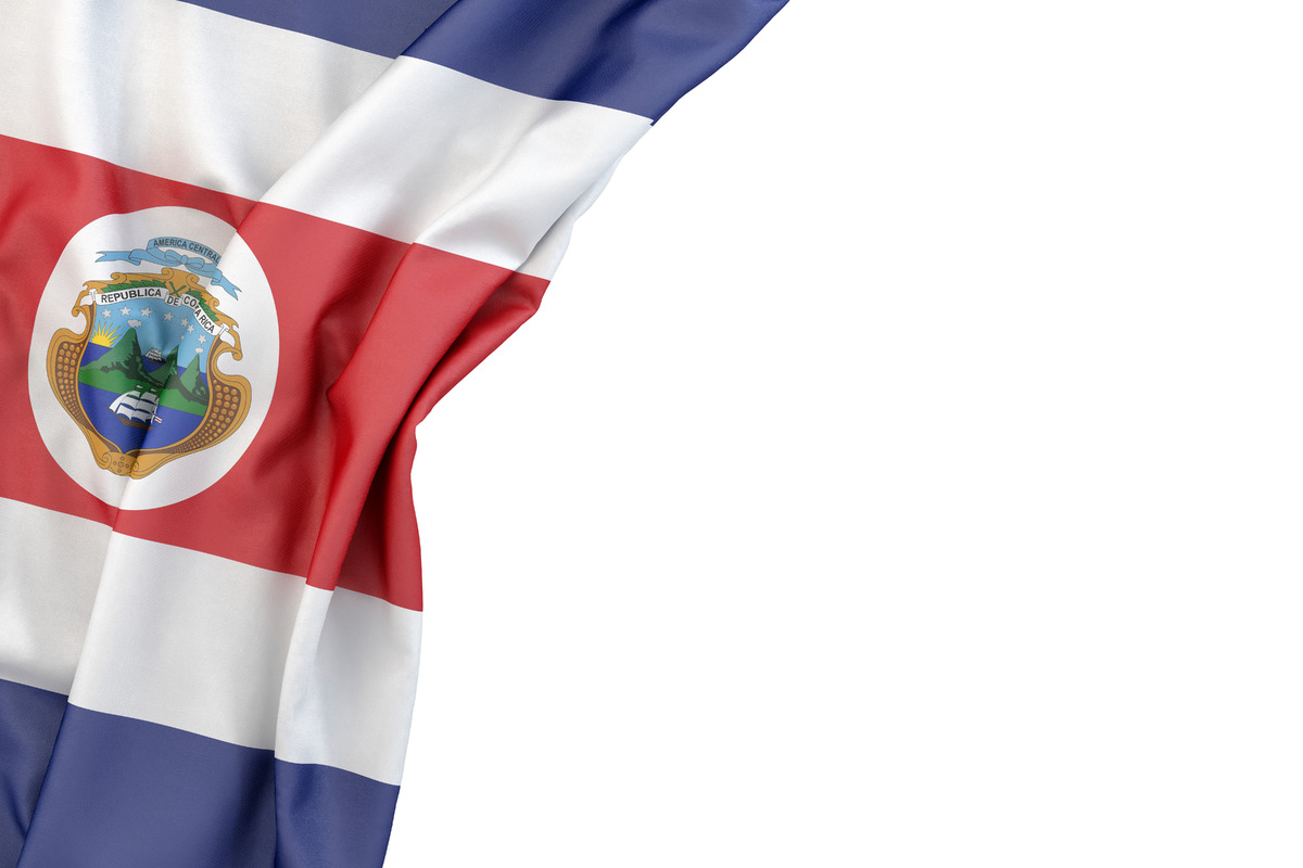Flag of Costa Rica with ensign in the corner on white background. Isolated, contains clipping path - slon.pics - free stock photos and illustrations