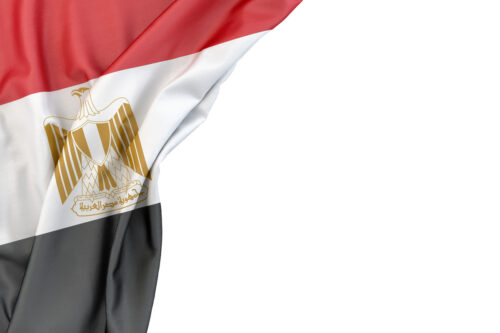 Flag of Egypt in the corner on white background. Isolated, contains clipping path - slon.pics - free stock photos and illustrations