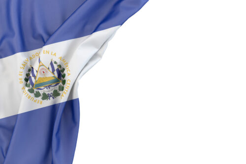 Flag of El Salvador in the corner on white background. Isolated, contains clipping path - slon.pics - free stock photos and illustrations