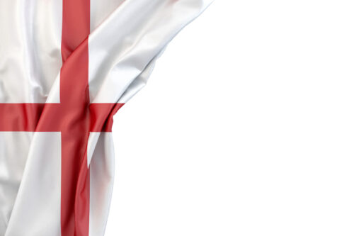 Flag of England in the corner on white background. Isolated, contains clipping path - slon.pics - free stock photos and illustrations