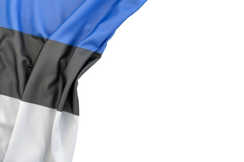 Flag of Estonia in the corner on white background. Isolated, contains clipping path - slon.pics - free stock photos and illustrations