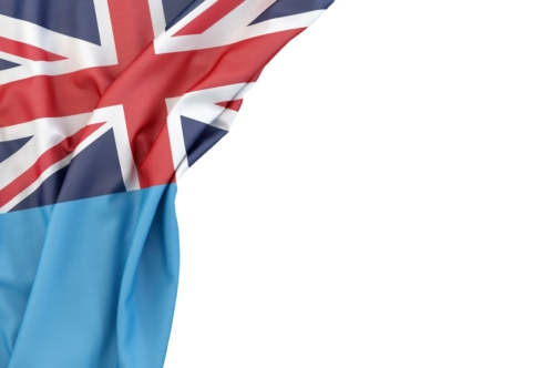 Flag of Fiji in the corner on white background. Isolated, contains clipping path - slon.pics - free stock photos and illustrations