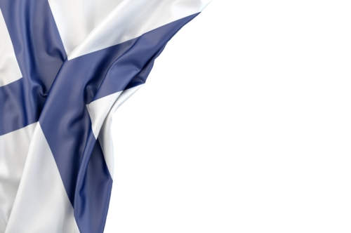 Flag of Finland in the corner on white background. Isolated, contains clipping path - slon.pics - free stock photos and illustrations