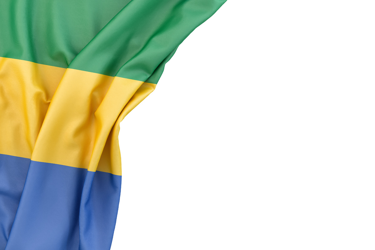 Flag of Gabon in the corner on white background. Isolated, contains clipping path - slon.pics - free stock photos and illustrations
