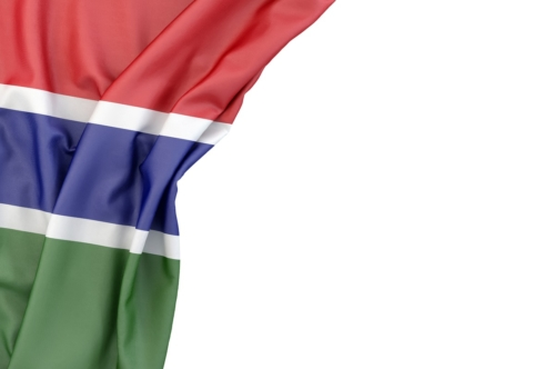 Flag of Gambia in the corner on white background. Isolated, contains clipping path - slon.pics - free stock photos and illustrations