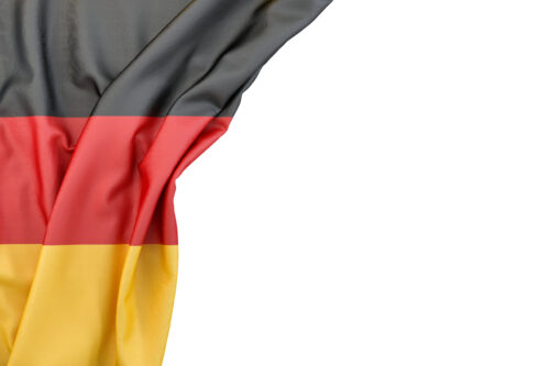 Flag of Germany in the corner on white background. Isolated, contains clipping path - slon.pics - free stock photos and illustrations