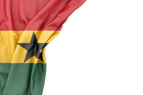 Flag of Ghana in the corner on white background. Isolated, contains clipping path - slon.pics - free stock photos and illustrations