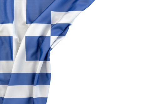 Flag of Greece in the corner on white background. Isolated, contains clipping path - slon.pics - free stock photos and illustrations