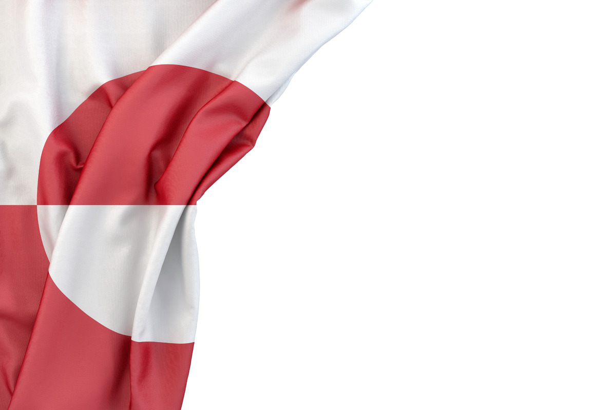 Flag of Greenland in the corner on white background. Isolated, contains clipping path - slon.pics - free stock photos and illustrations