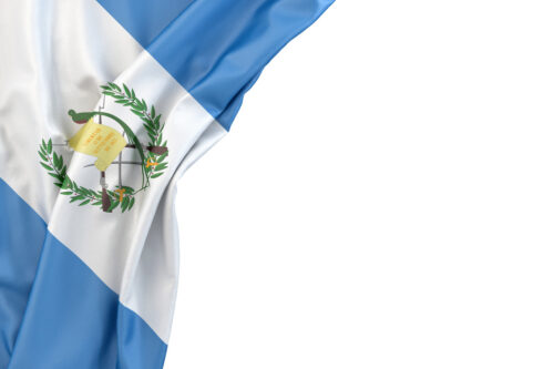 Flag of Guatemala in the corner on white background. Isolated, contains clipping path - slon.pics - free stock photos and illustrations