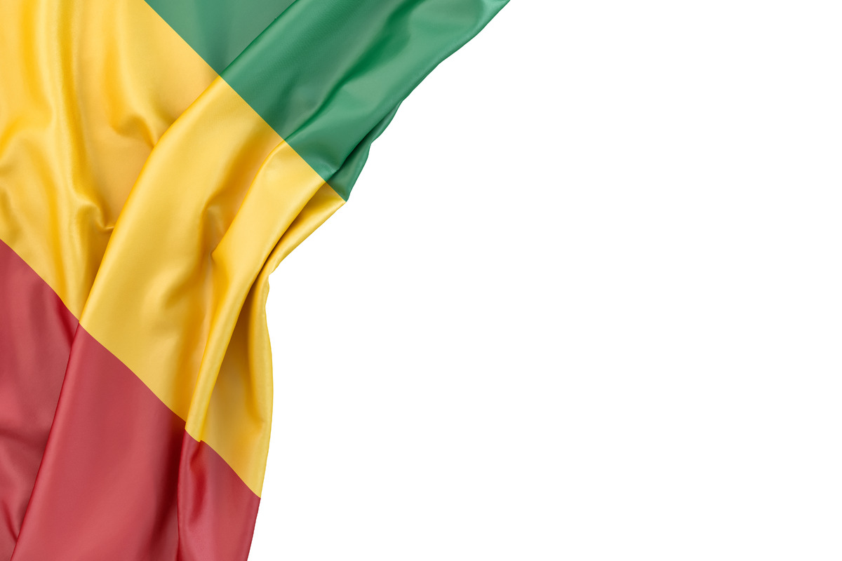 Flag of Guinea in the corner on white background. Isolated, contains clipping path - slon.pics - free stock photos and illustrations