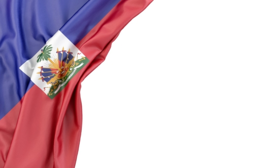 Flag of Haiti the corner on white background. Isolated, contains clipping path - slon.pics - free stock photos and illustrations