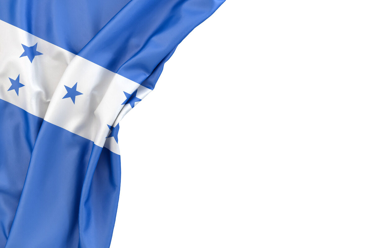 Flag of Honduras the corner on white background. Isolated, contains clipping path - slon.pics - free stock photos and illustrations
