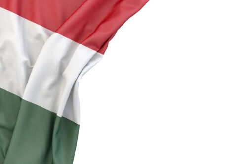Flag of Hungary the corner on white background. Isolated, contains clipping path - slon.pics - free stock photos and illustrations