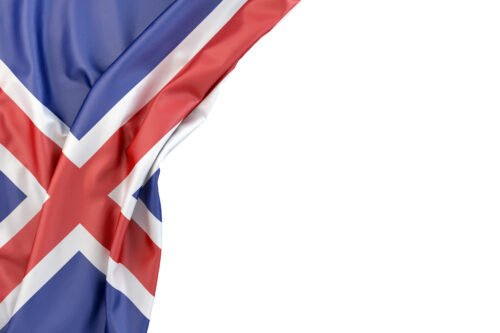 Flag of Iceland the corner on white background. Isolated, contains clipping path - slon.pics - free stock photos and illustrations