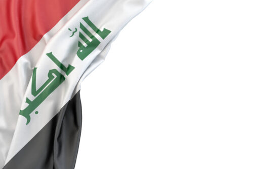 Flag of Iraq in the corner on white background. Isolated, contains clipping path - slon.pics - free stock photos and illustrations