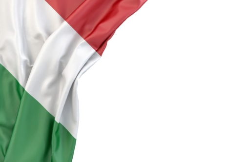Flag of Italy in the corner on white background. Isolated, contains clipping path - slon.pics - free stock photos and illustrations