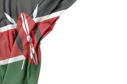 Flag of Kenya in the corner on white background. Isolated, contains clipping path - slon.pics - free stock photos and illustrations