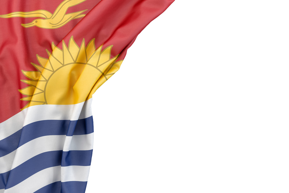 Flag of Kiribati in the corner on white background. Isolated, contains clipping path - slon.pics - free stock photos and illustrations