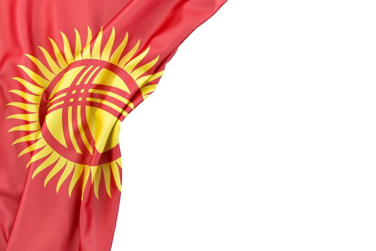 Flag of Kyrgyzstan in the corner on white background. Isolated, contains clipping path - slon.pics - free stock photos and illustrations