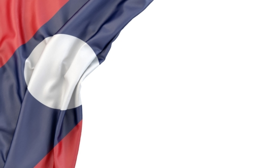 Flag of Laos in the corner on white background. Isolated, contains clipping path - slon.pics - free stock photos and illustrations