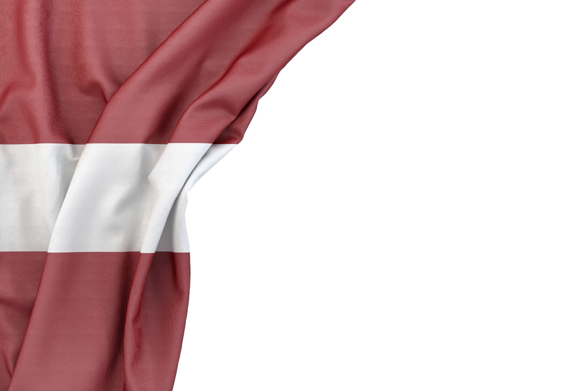 Flag of Latvia in the corner on white background. Isolated, contains clipping path - slon.pics - free stock photos and illustrations