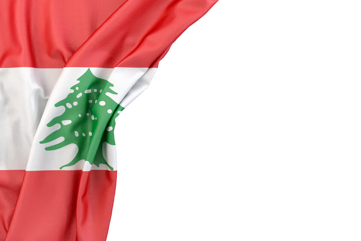 Flag of Lebanon in the corner on white background. Isolated, contains clipping path - slon.pics - free stock photos and illustrations